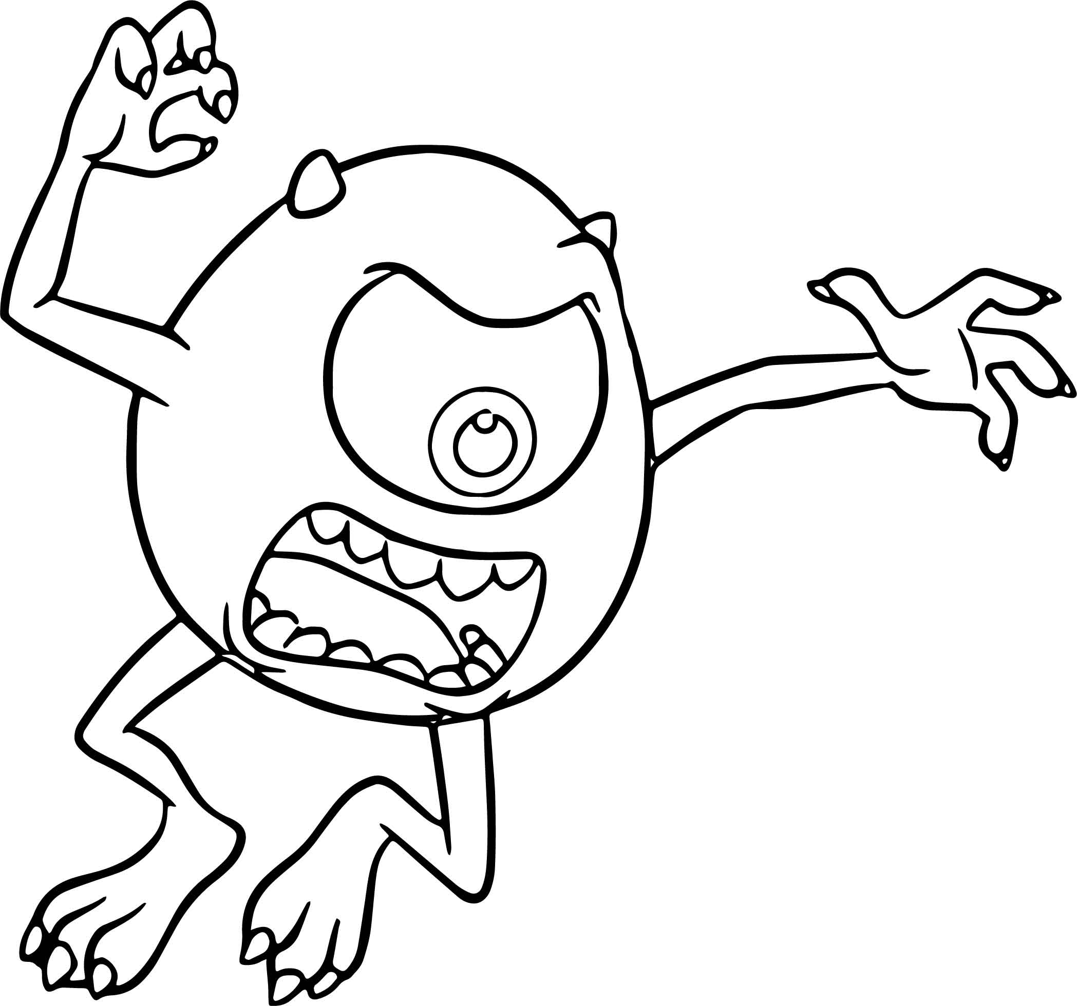 2097x1960 Mike Wazowski Coloring Pages Monster University General Printable