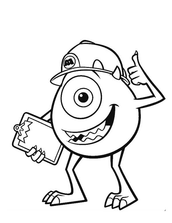 600x776 Mike And His Working Helmet In Monsters Inc Coloring Page