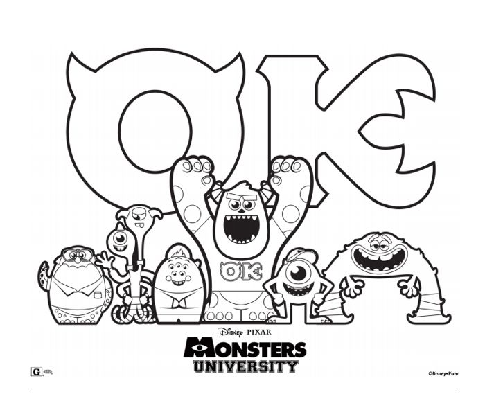 700x592 Monsters University Christmas Coloring Sheets Top Monsters Inc