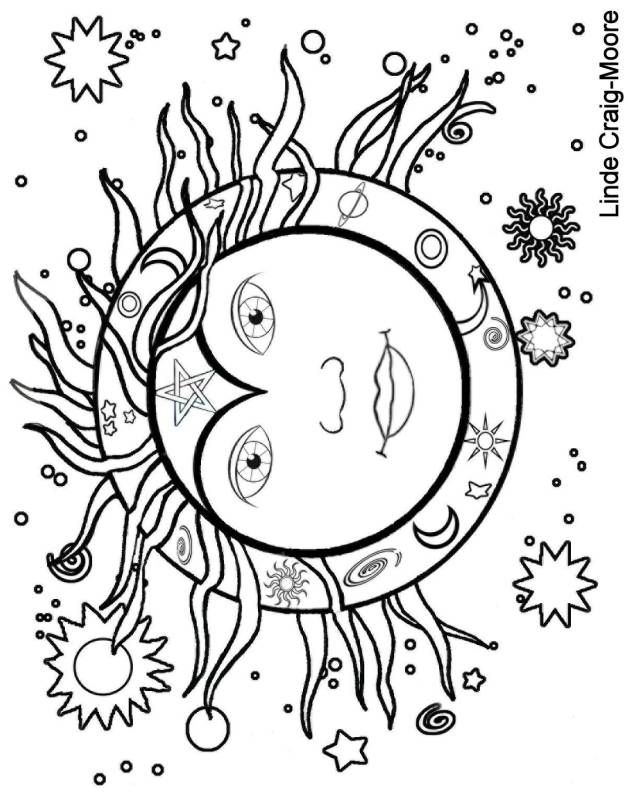 628x792 Sun And Moon Coloring Page Many Interesting Cliparts