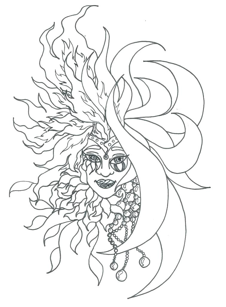 756x1024 Sun Moon And Stars Coloring Page Stock Crescent Moon Craters Sun