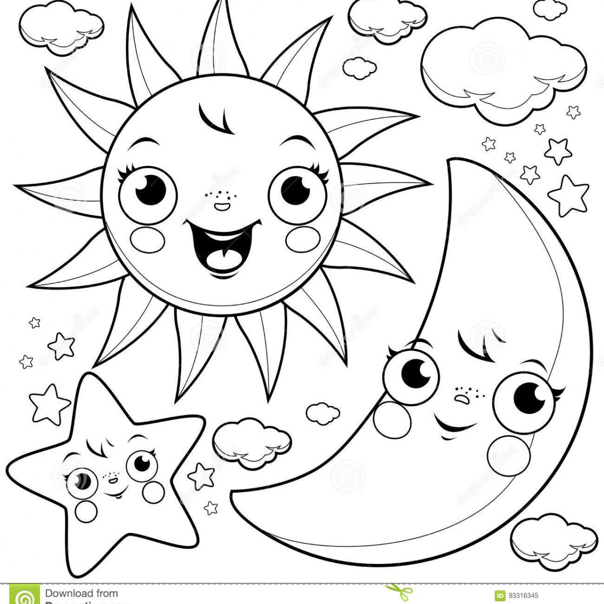 1224x1224 Stars And Moon Coloring Pages To Download Print Free Printable
