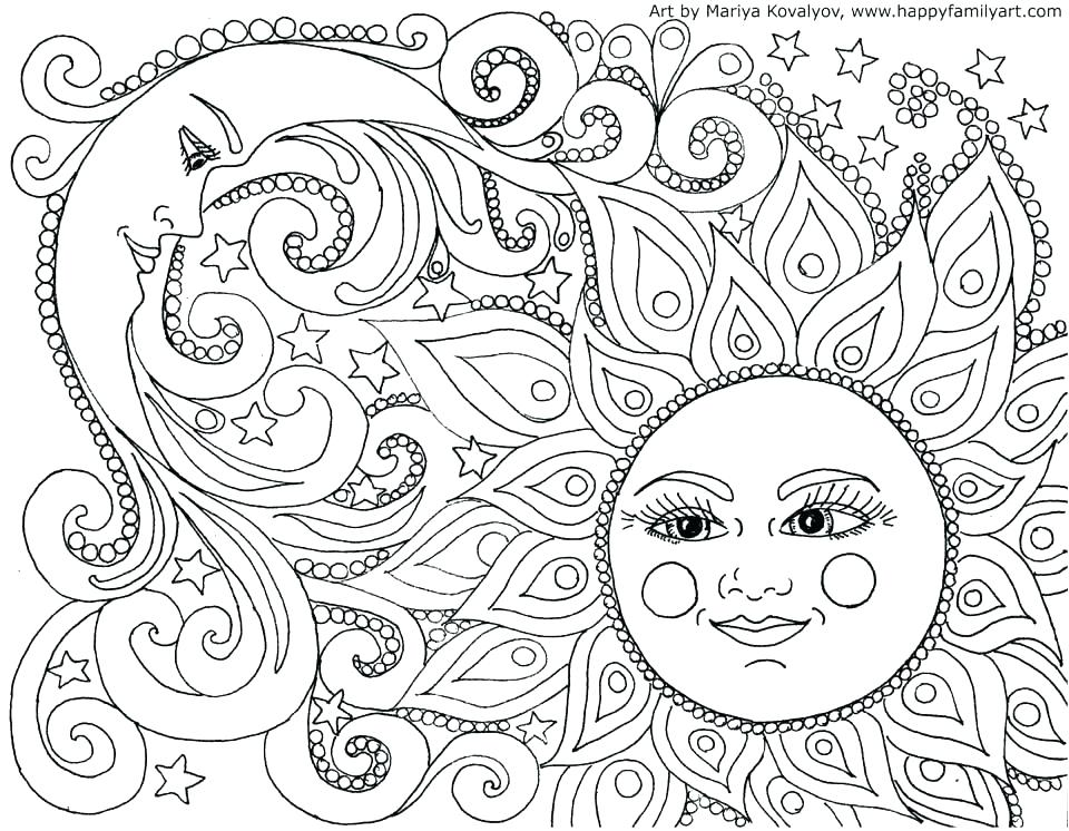 960x746 Sun Moon And Stars Colouring Pages