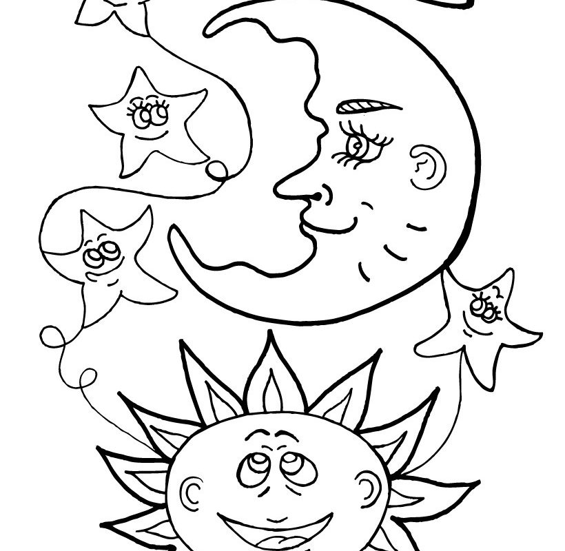 820x800 Free Coloring Page Stars And Moon Midnight Pages Printable Kids