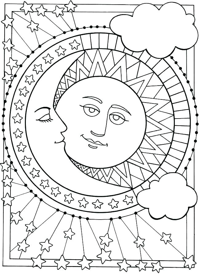 650x893 Moon Coloring Pages Preschool Sunflower Sun And Adult Free Colorin