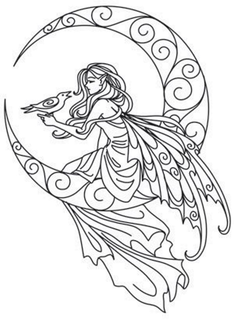 800x1091 Fairy On The Moon Embroidery Pattern