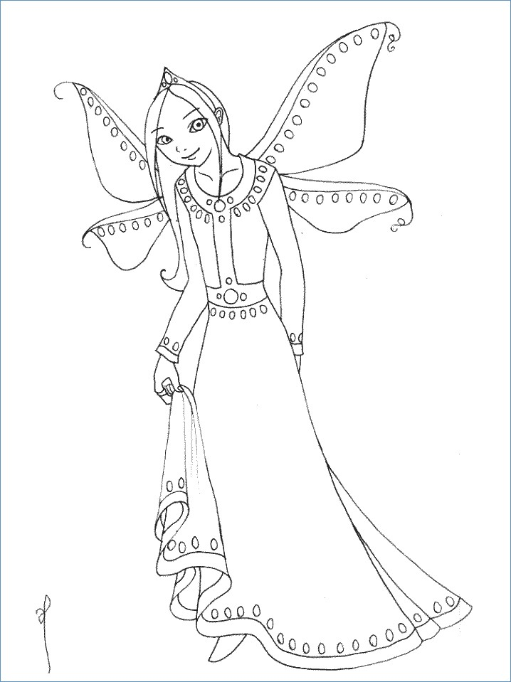 718x959 Flower Fairy Coloring Pages