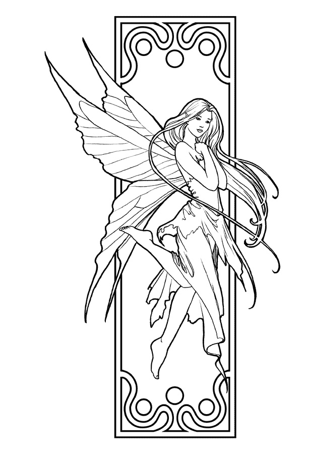 615x900 Adult Fairy Coloring Page