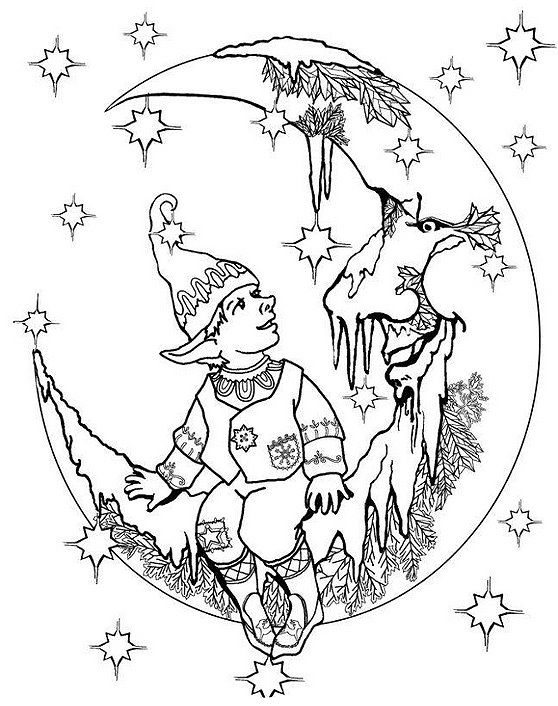 558x706 Elf On Moon Adult Coloring Pages Elves, Moon