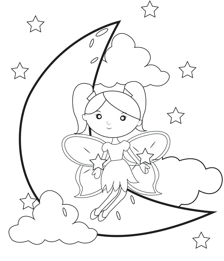 773x900 Coloring Pages Of The Moon Crescent Moon Coloring Page Crescent