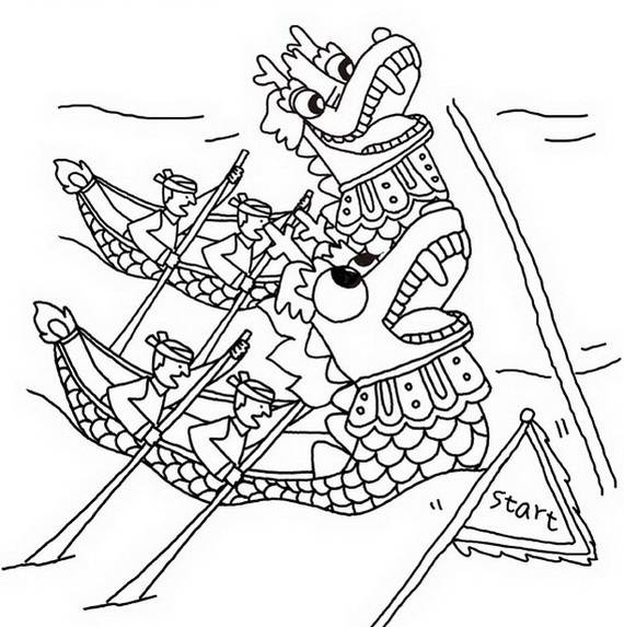 570x573 Chinese Dragon Boat Festival Coloring Pages