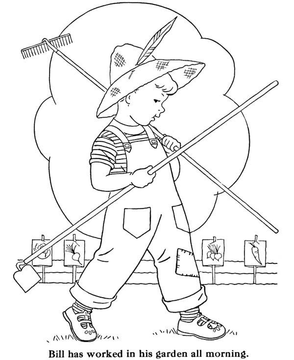 600x734 Gardening, Bill Doing Gardening All Morning Coloring Pages Bill