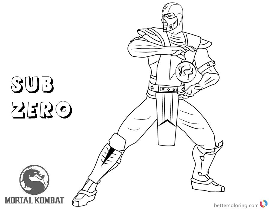 900x700 Mortal Kombat Coloring Pages Sub Zero