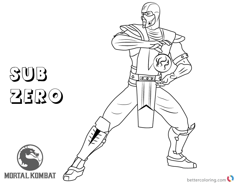 900x700 Mortal Kombat Coloring Mortal Kombat Coloring Pages Sub Zero Free
