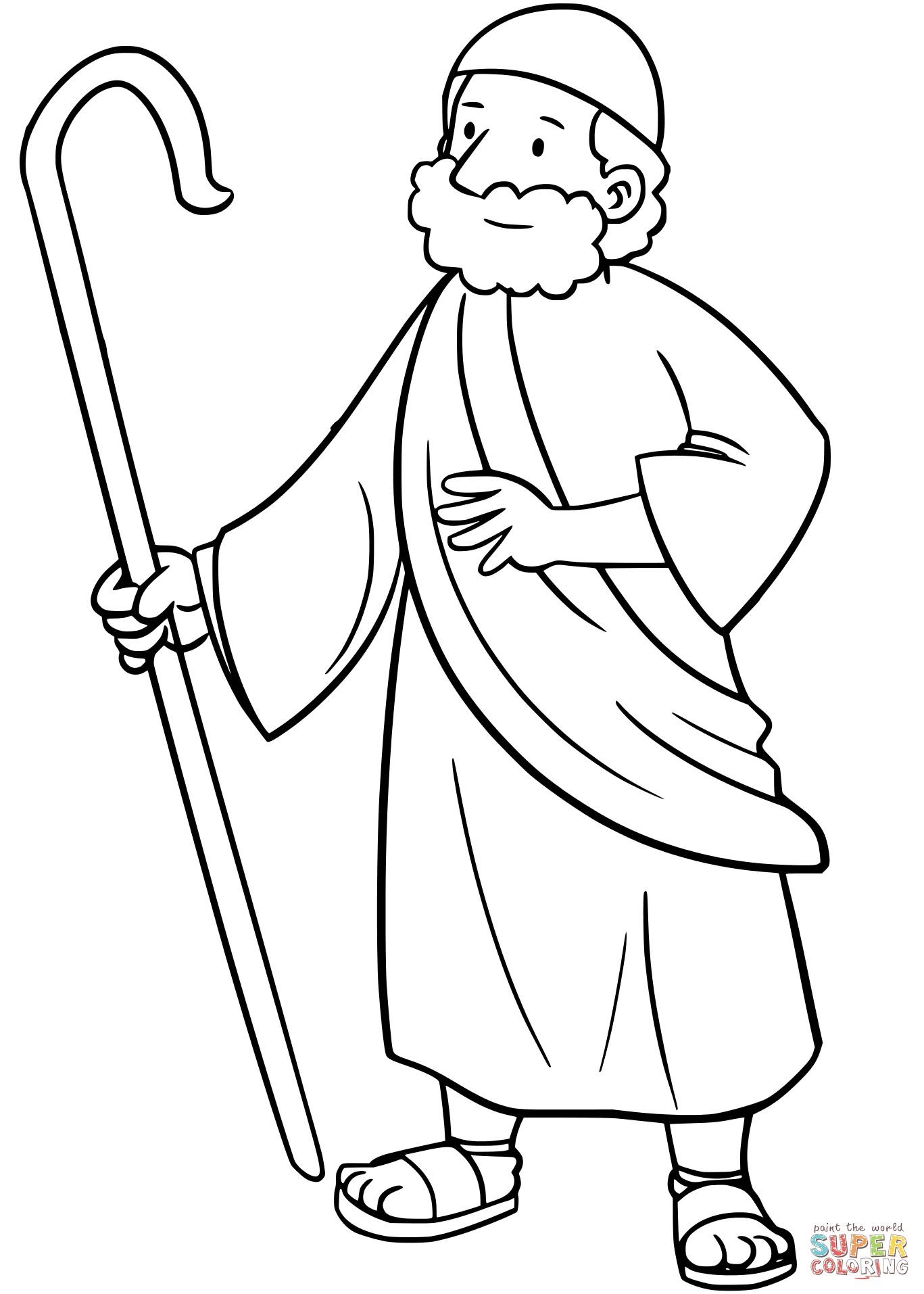 1367x1914 Moses Coloring Sheet