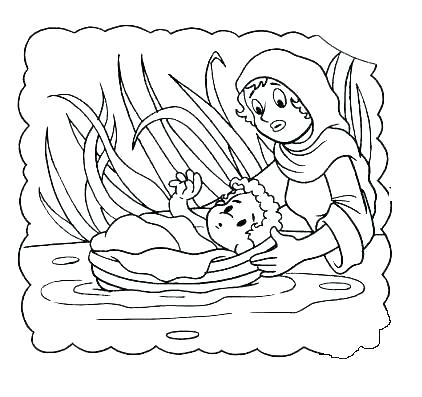 422x397 Baby Moses Coloring Page