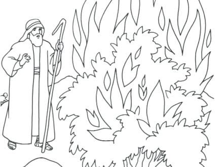 440x330 Moses And The Burning Bush Coloring Page And The Burning Bush