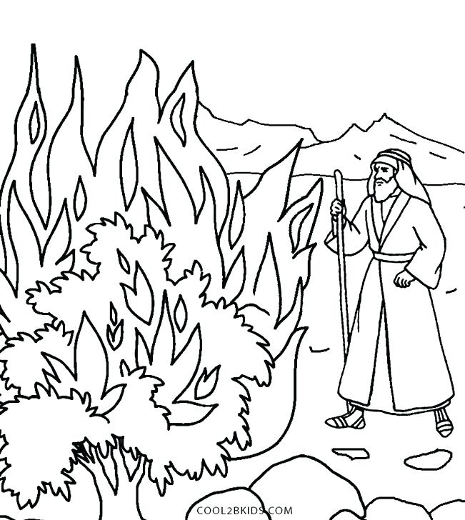 651x728 Moses And The Burning Bush Coloring Pages And The Burning Bush