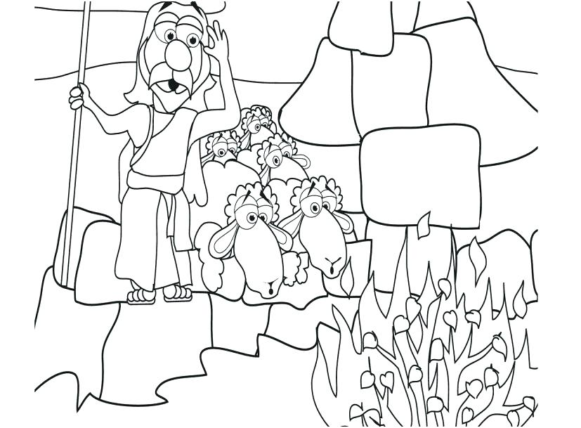 827x609 Moses And The Burning Bush Coloring Pages S Moses Burning Bush