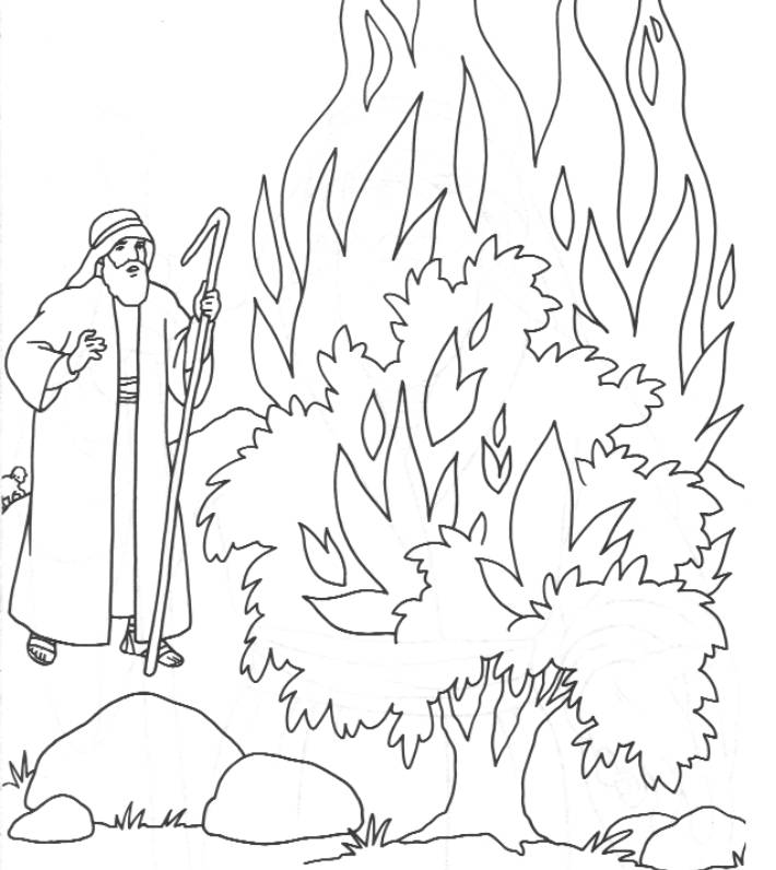 710x796 Moses And The Burning Bush Free Coloring Pages
