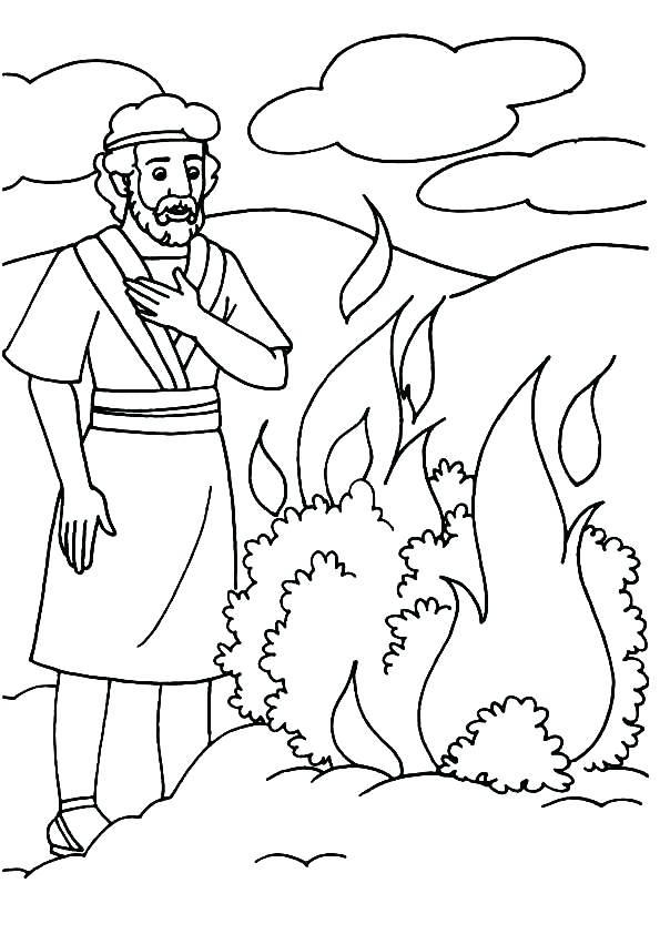 595x842 Moses Burning Bush Coloring Page And The Burning Bush Coloring