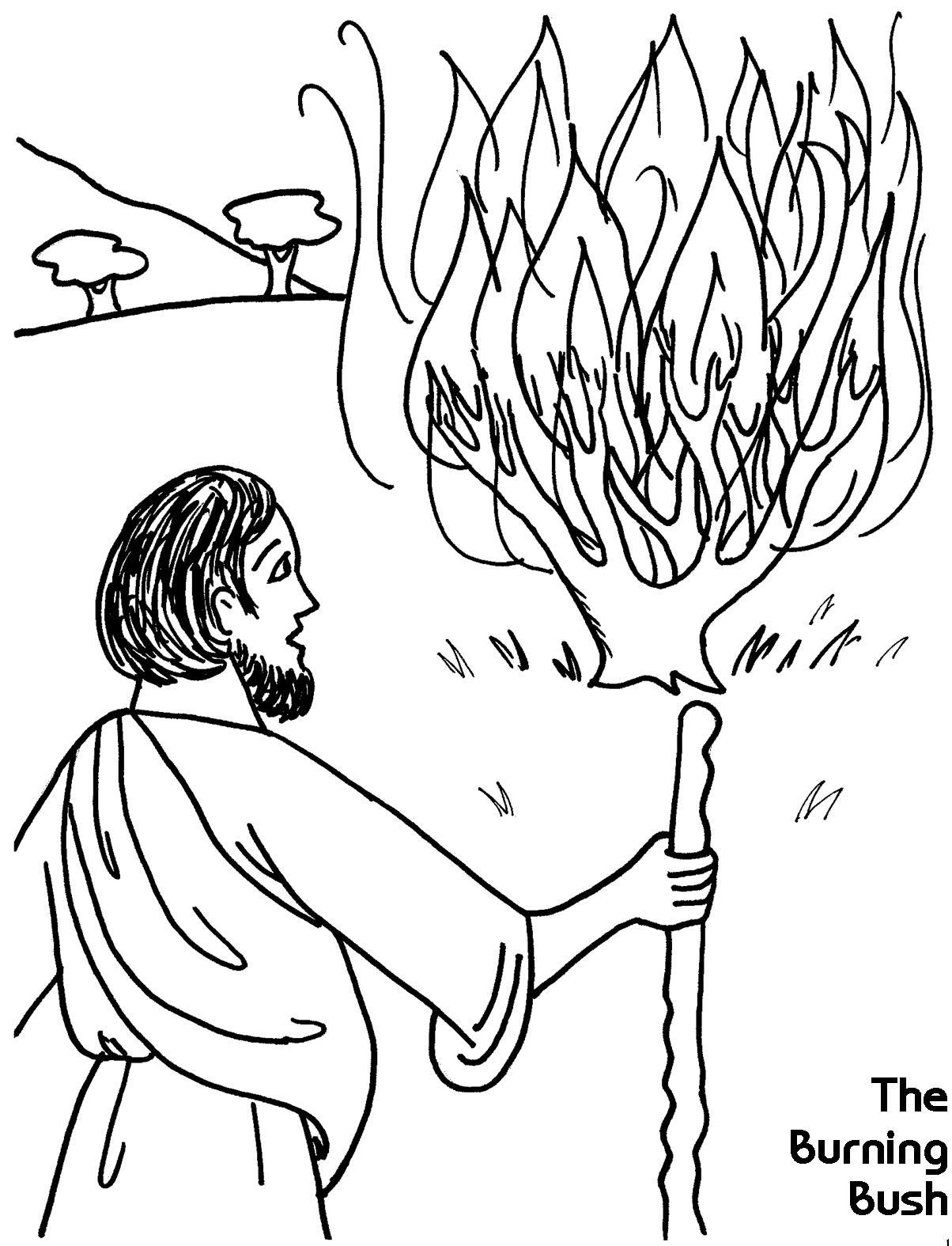 1204x1575 Moses And Burning Bush Coloring Page Exodus The Outstanding
