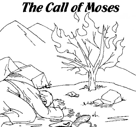 520x486 Moses Printable Coloring Pages Burning Bush, Sunday School And Bible