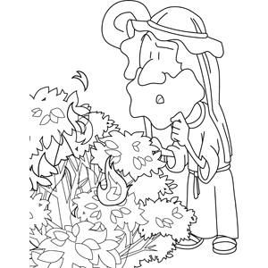 300x300 Moses And The Burning Bush Coloring Page