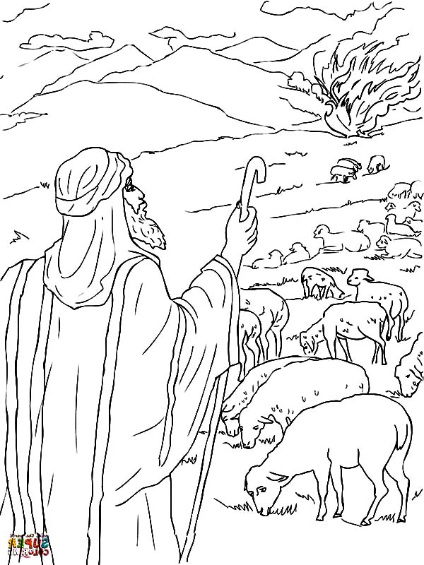 600x800 Moses The Burning Bush Coloring Pages Coloring Pages Moses