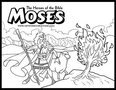 375x291 The Heroes Of The Bible Coloring Pages Moses And The Burning Bush