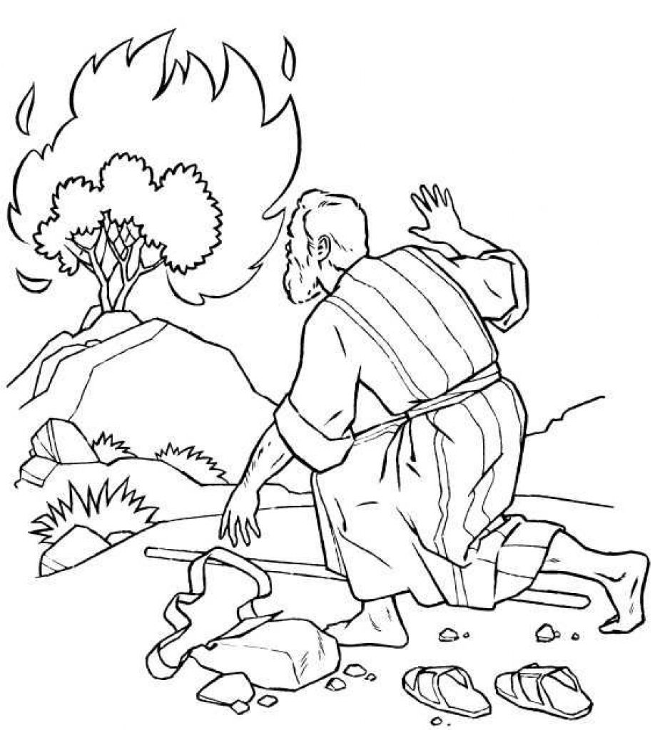 918x1024 Thecredible Moses Burning Bush Coloring Page To Encourage