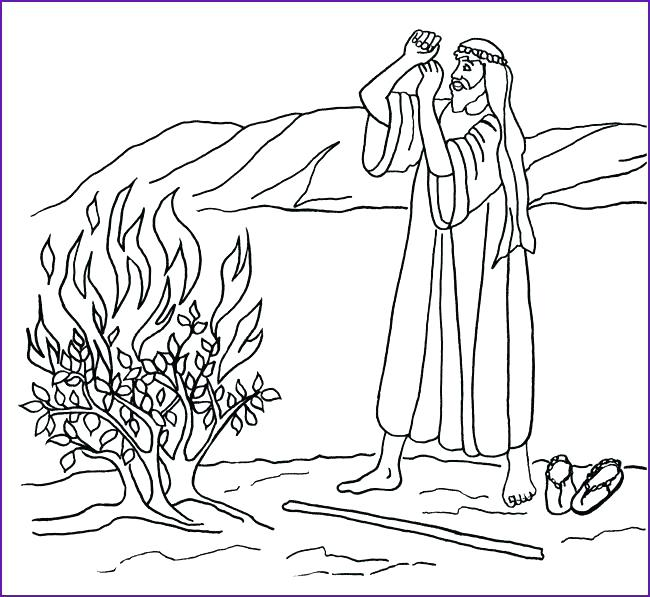 650x597 Moses And The Burning Bush Coloring Page