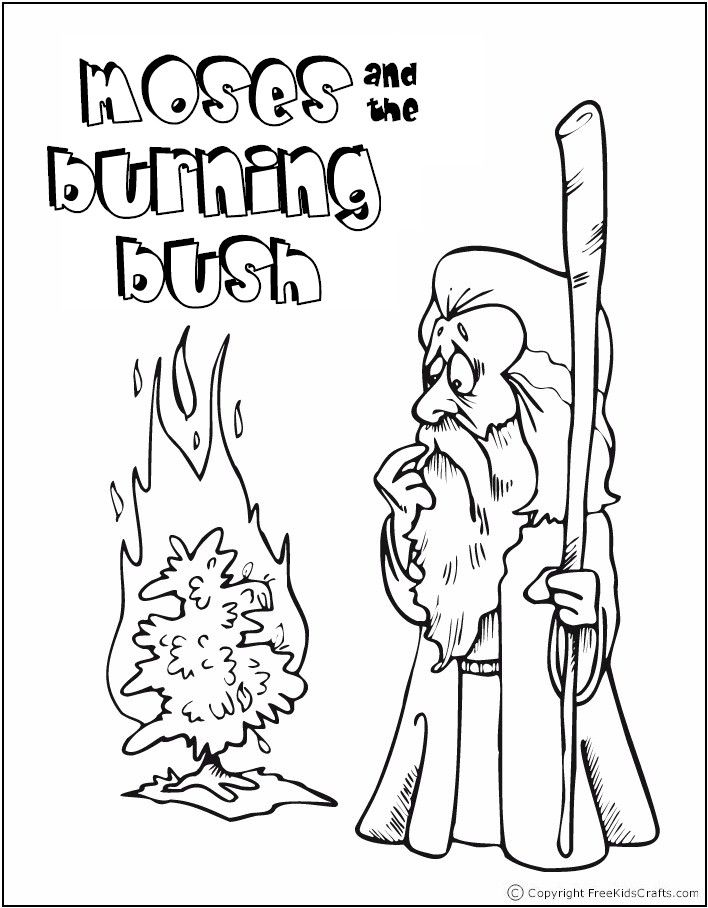 708x908 Moses And Burning Bush Coloring Pages Sunday