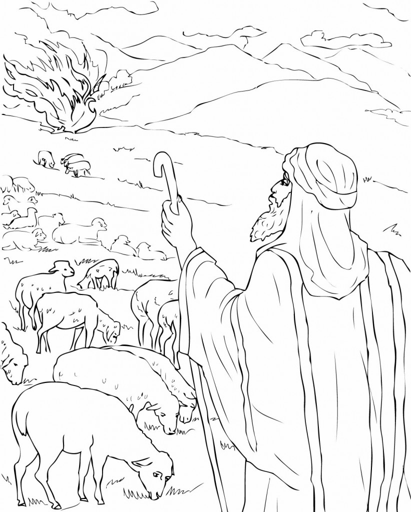 821x1024 Awesome Moses And The Burning Bush Coloring Pa