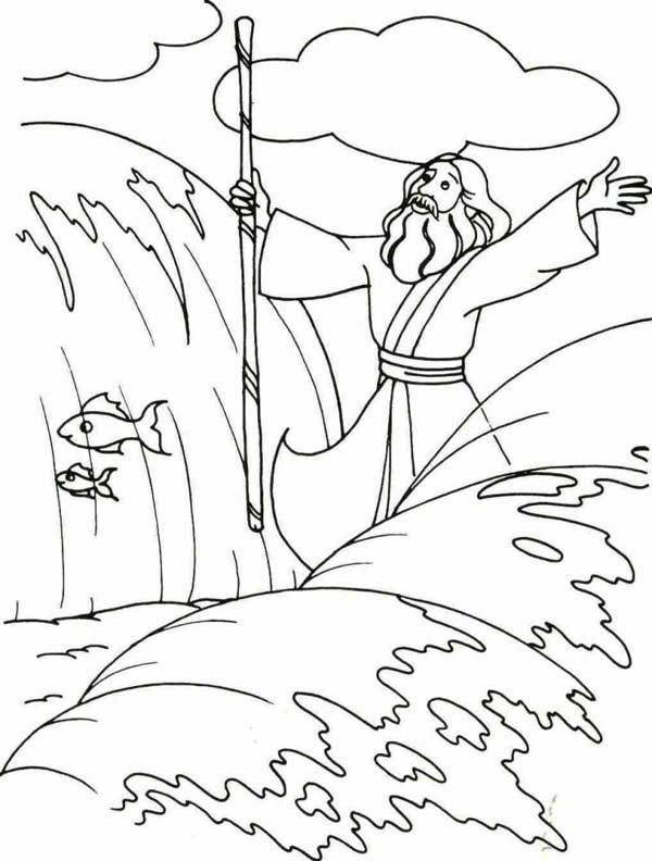 600x792 Moses, Moses Divide The Red Sea With His Stick Coloring Page