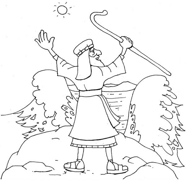 600x587 Moses About To Divide Red Sea Coloring Page Color Luna