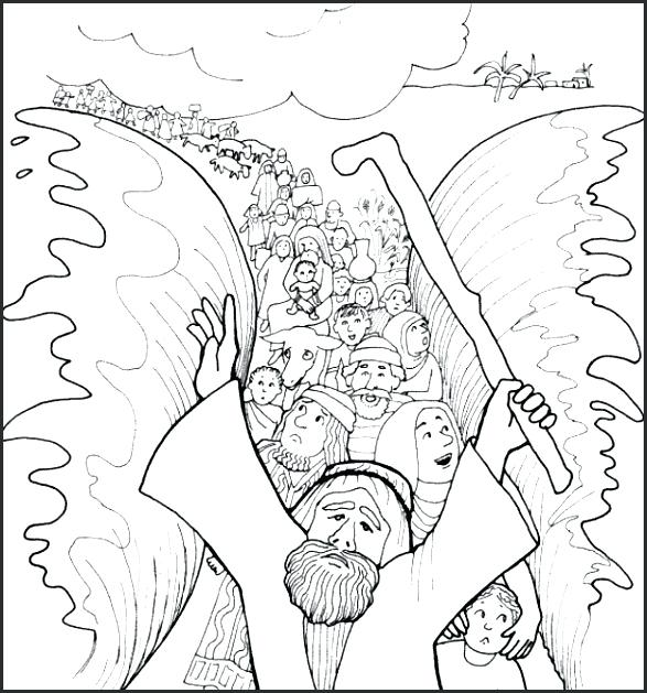 587x629 Moses And The Red Sea Coloring Page Crossing The Red Sea Craft