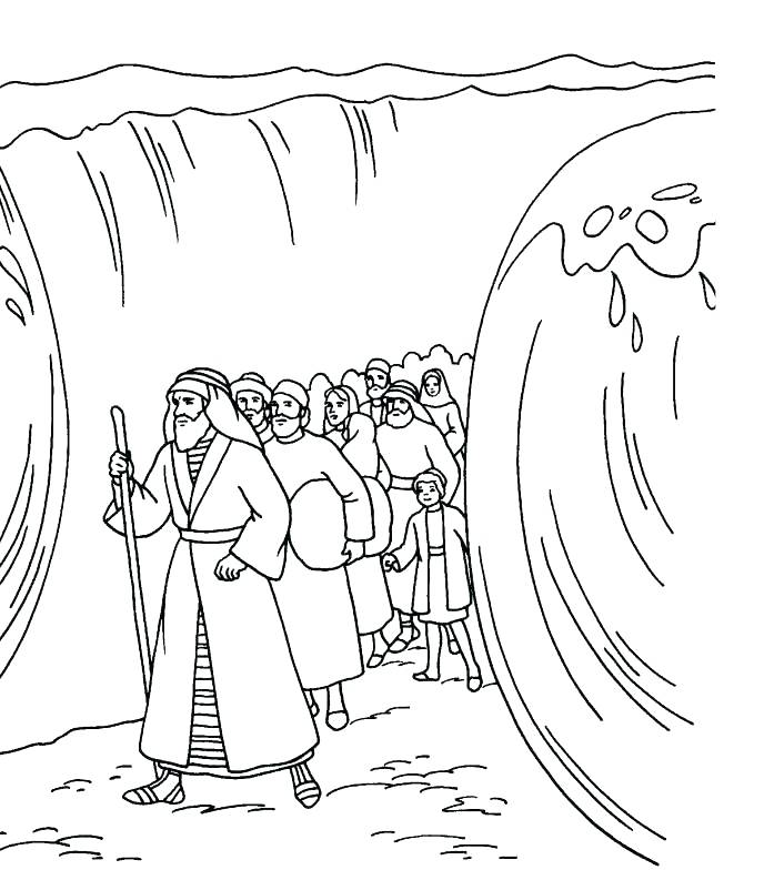 688x784 Moses Crossing The Red Sea Coloring Page Endorsed Coloring Pages