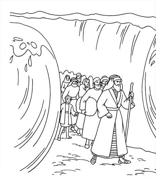 600x683 Moses Divide Red Sea Coloring Page Color Luna