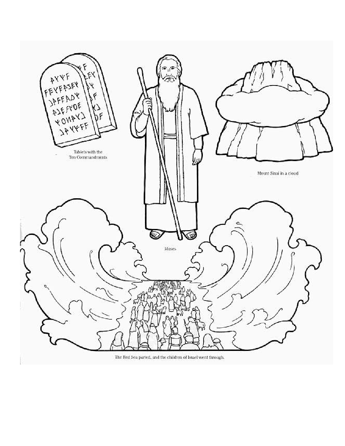 1102x1426 A Ordable Moses And The Red Sea Coloring Page