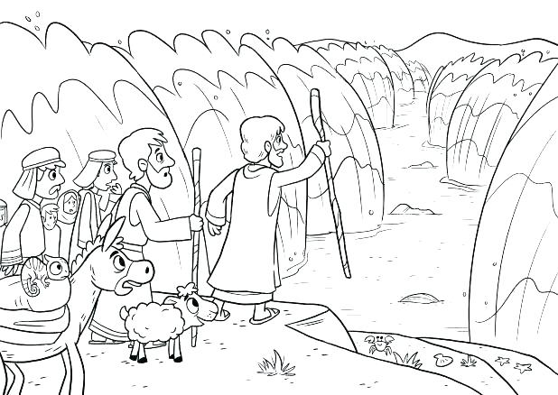 618x438 Moses Parting Red Sea Coloring Page Crossing The Of And Fuhrer