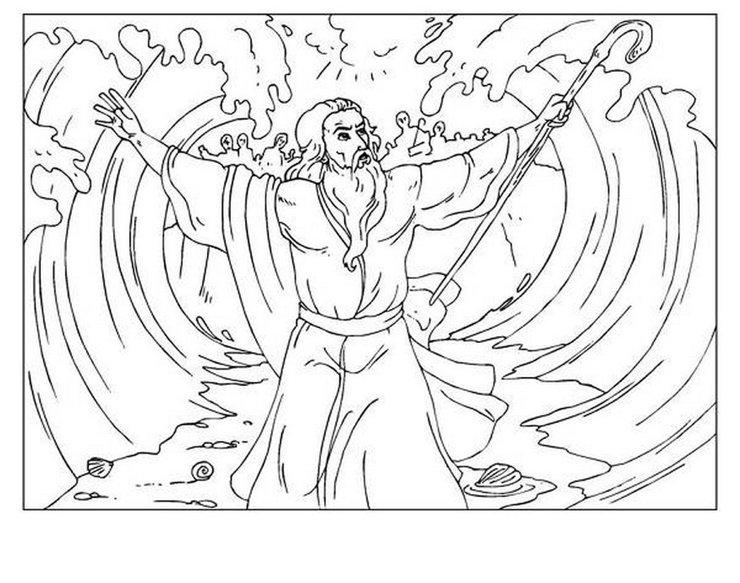1048x826 Moses Red Sea Coloring Page Mosm