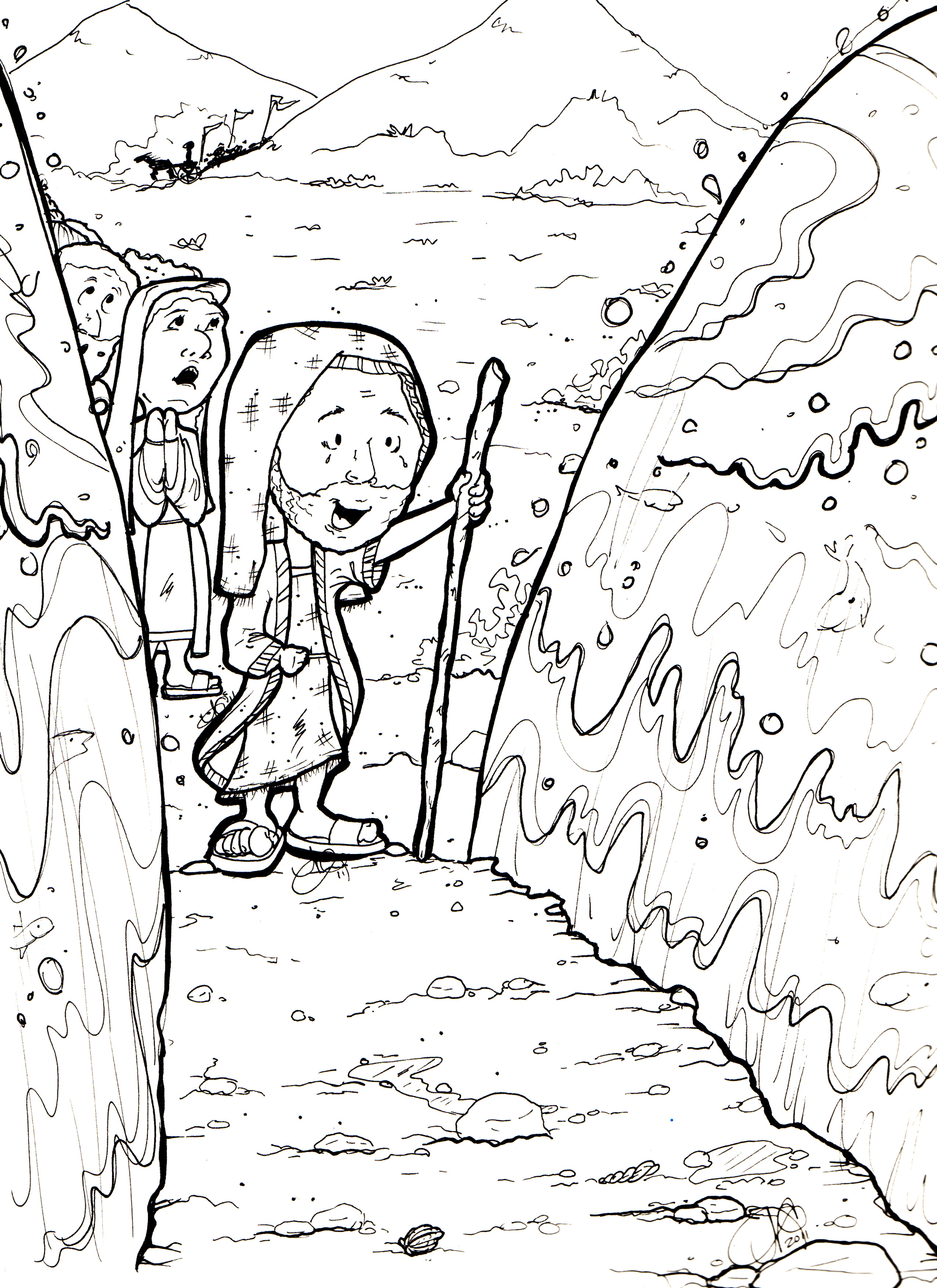 2552x3508 Printable Moses Parting The Red Sea Coloring Pages Free Coloring