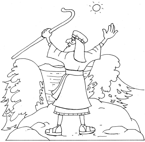 600x587 Coloring Pages Moses At The Red Sea, Moses Parting The Red Sea