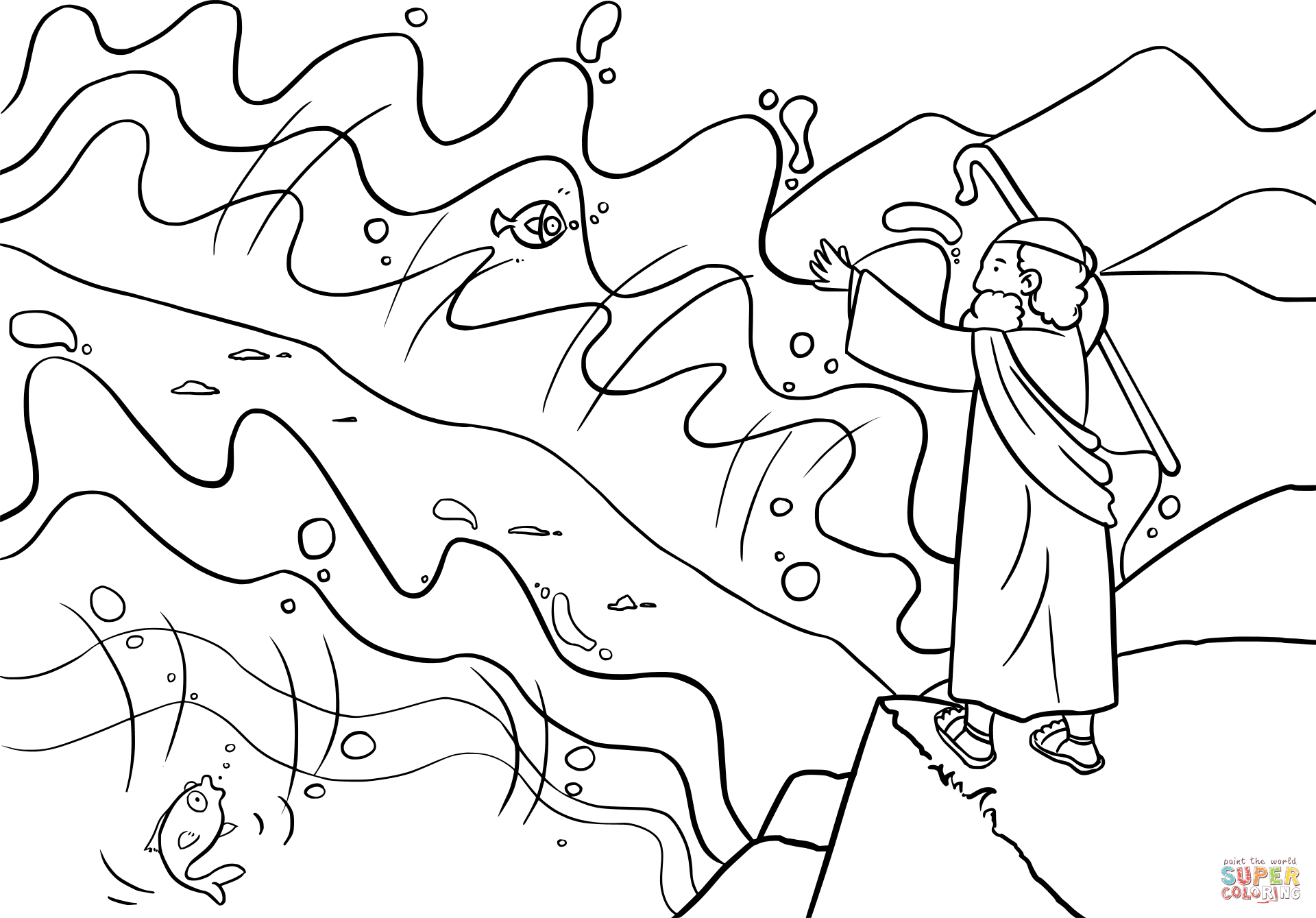 1920x1339 Focus Moses And The Red Sea Coloring Page Part