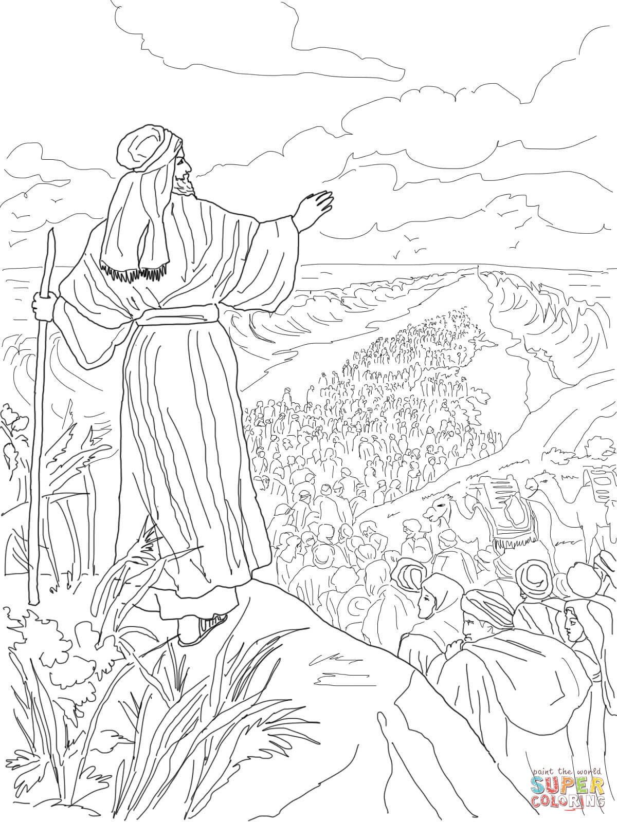 1200x1600 Israelites Crossing The Red Sea Coloring Page Free Printable