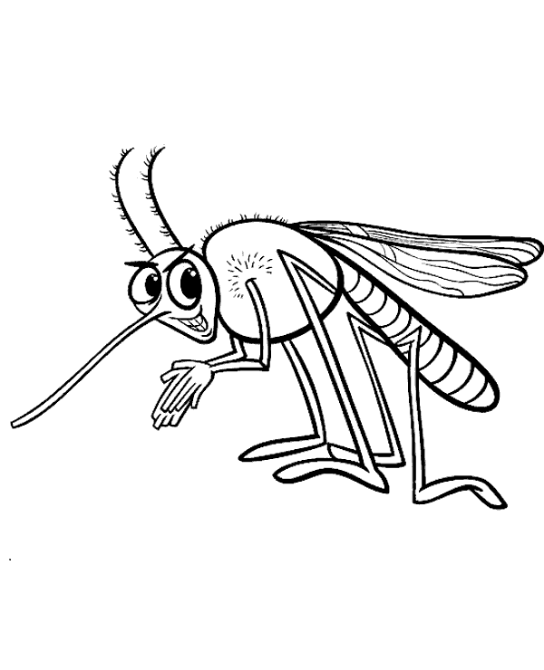 600x740 Funny Mosquito Cartoon Coloring Page To Print Or Download For Free