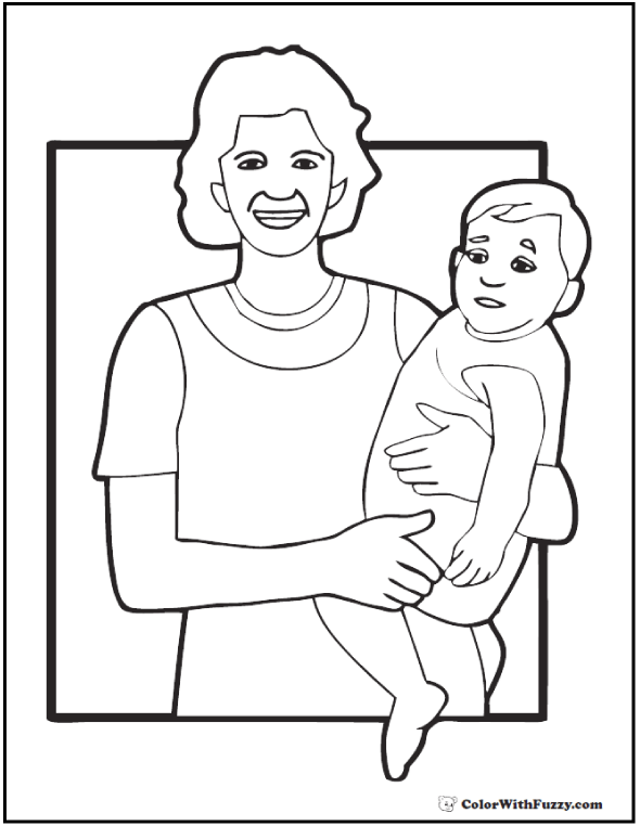Mother And Baby Coloring Pages