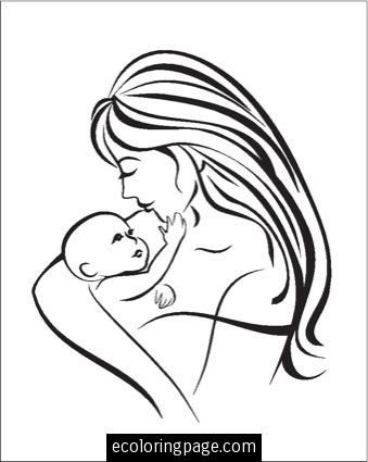 339x425 Best Mother And Child Coloring Pages Images