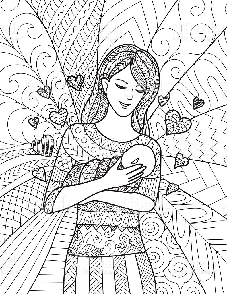 Mother And Child Coloring Pages At Getdrawings Free Download